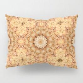 Round ornaments kaleidoscope yellow . Mandala . Pillow Sham