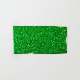 Emerald Green Shiny Metallic Glitter Hand & Bath Towel