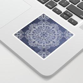 Mandala Vintage White on Ocean Fog Gray Sticker