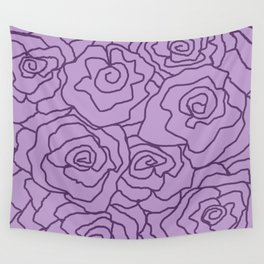 Lavender Dreams Roses - Light with Dark Outline - Color Therapy Wall Tapestry