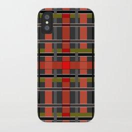 Gray orange plaid iPhone Case