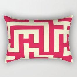 Cream Yellow and Crimson Red Labyrinth Rectangular Pillow