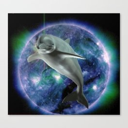 Space dolphin Canvas Print