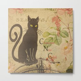 Chat Noir - Black Cat French Collage Metal Print