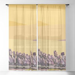 Geometric Easter Island Sheer Curtain