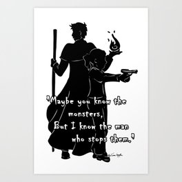 The Man Who Stops Monsters Art Print
