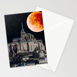 Blood Moon Over Mont-Saint-Michel Stationery Cards