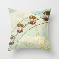 ferris wheel Throw Pillows featuring ferris wheel by Beverly LeFevre