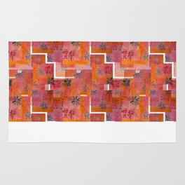 Orange geo and florals Rug