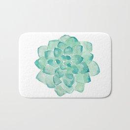Watercolor Succulent print in seafoam green Bath Mat