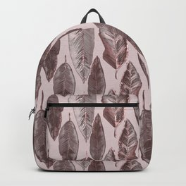 Rose Gold  Feather Pattern With Sparkle Backpack