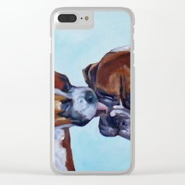Kissing Boxers Dogs Portrait Clear iPhone Case