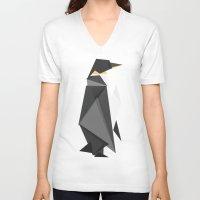 fractal V-neck T-shirts featuring Fractal geometric emperor penguin by Picomodi
