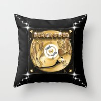 black and gold Throw Pillows featuring Black Gold by Nikola Kolobaric