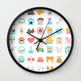 CUTE VET / VETERINARIAN PATTERN Wall Clock