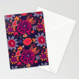 Playful Flowers Warm Colors with Dark Background Stationery Cards