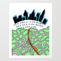 paper towns Art Prints featuring Paper Towns by green.lime