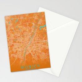 Munich, Germany, Gold, Blue, City, Map Stationery Cards