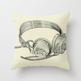 Old school headphones. Throw Pillow