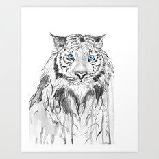 Tiger, black and white Art Print