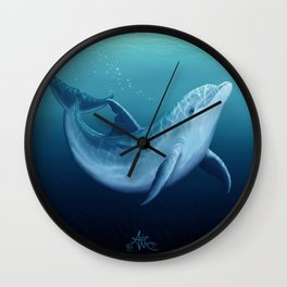 """Riversoul Blue"" by Amber Marine ~ Dolphin Art, (Copyright 2014) Wall Clock"