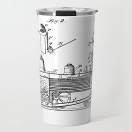 Smoke Consuming Locomotive Vintage Patent Hand Drawing Travel Mug