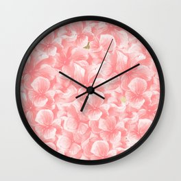 Hand painted coral white faux gold watercolor floral Wall Clock
