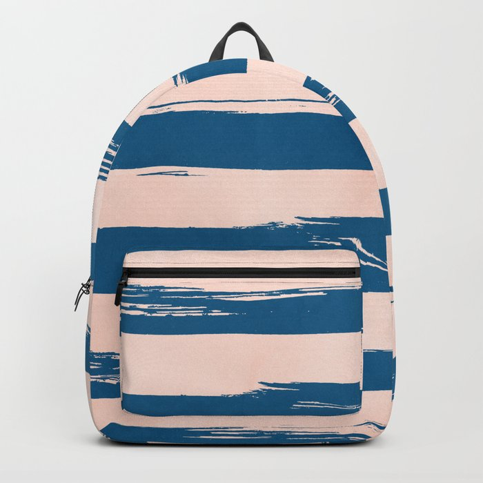 Trendy Stripes - Sweet Peach Coral on Saltwater Taffy Teal Backpack