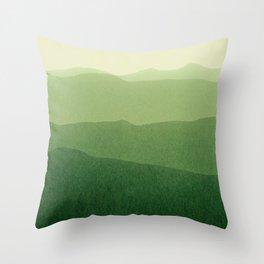 gradient landscape green Throw Pillow