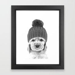 Black and White Cocker Spaniel Framed Art Print