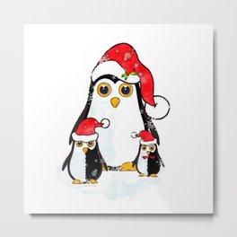 Christmas Penguins Waiting for Santa Metal Print