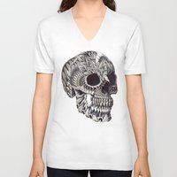 ornate V-neck T-shirts featuring Ornate Skull by BIOWORKZ