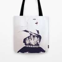 lip Tote Bags featuring Red Lip by Senhora C