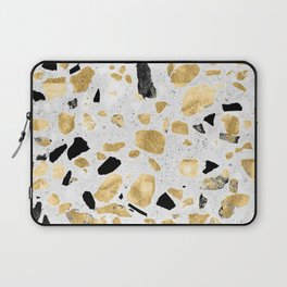 Classy gold vintage marble abstract Terrazzo Laptop Sleeve