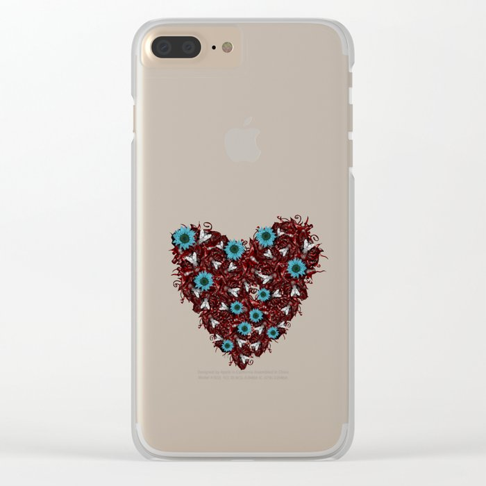Flesh Heart, Flyes and Flowers Clear iPhone Case