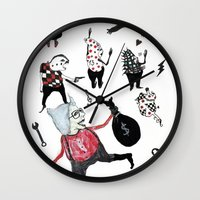 allyson johnson Wall Clocks featuring Minis Johnson by Franck Chartron
