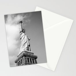 Black and white Statue of Liberty - Liberty Island, New York Stationery Cards