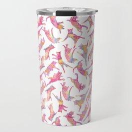 Watercolor Flying Cats - Pink Palatte Travel Mug