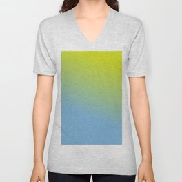 Ombre in Green Blue Unisex V-Neck