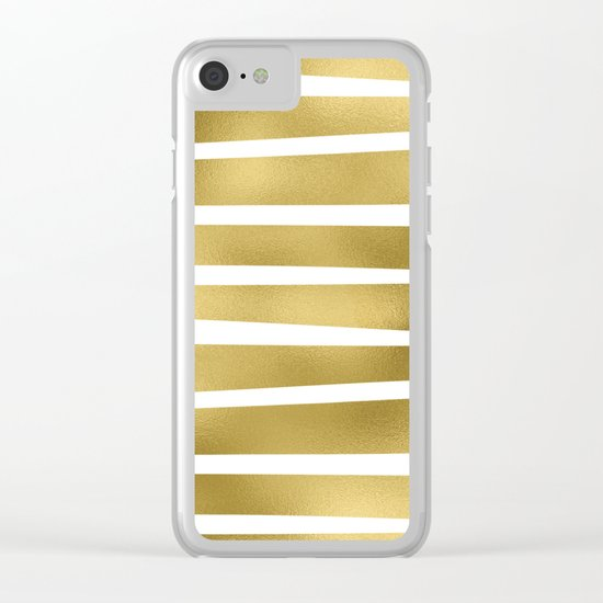 Gold unequal stripes on clear white - horizontal pattern Clear iPhone Case