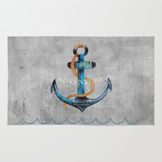 Maritime Design- Nautic Anchor Navy Marine Beach Rug