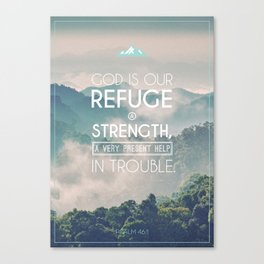 Typography Motivational Christian Bible Verses Poster - Psalm 46:1 Canvas Print