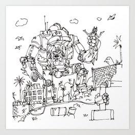 """Arkhamfall"" lineart (Farts 'N' Crafts episode 2) Art Print"