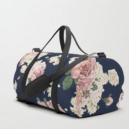 Pink Roses on dark blue pattern Duffle Bag