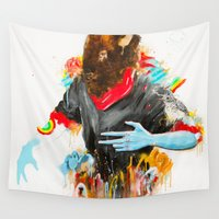 depression Wall Tapestries featuring  Happy Depression by niuku