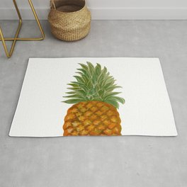 Eat Green Love Planet Pineapple White Bg Rug