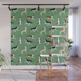 Husky Pattern (Green Background) Wall Mural