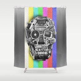retro tech skull 3 Shower Curtain