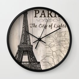 Vintage Travel Poster Paris Wall Clock