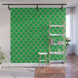 Mermaid Scales Pattern in Green Wall Mural